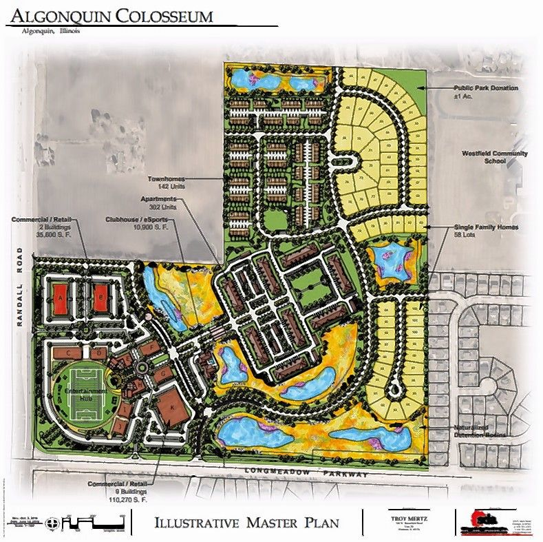 "The original ""Algonquin Colosseum"" development proposed at Randall Road and Longmeadow Parkway includes 145,870 square feet of commercial space, 302 luxury apartments, 142 rental townhouses, 58 single-family residential lots and a six-acre ""entertainment hub"" to be dedicated to the village for public use."