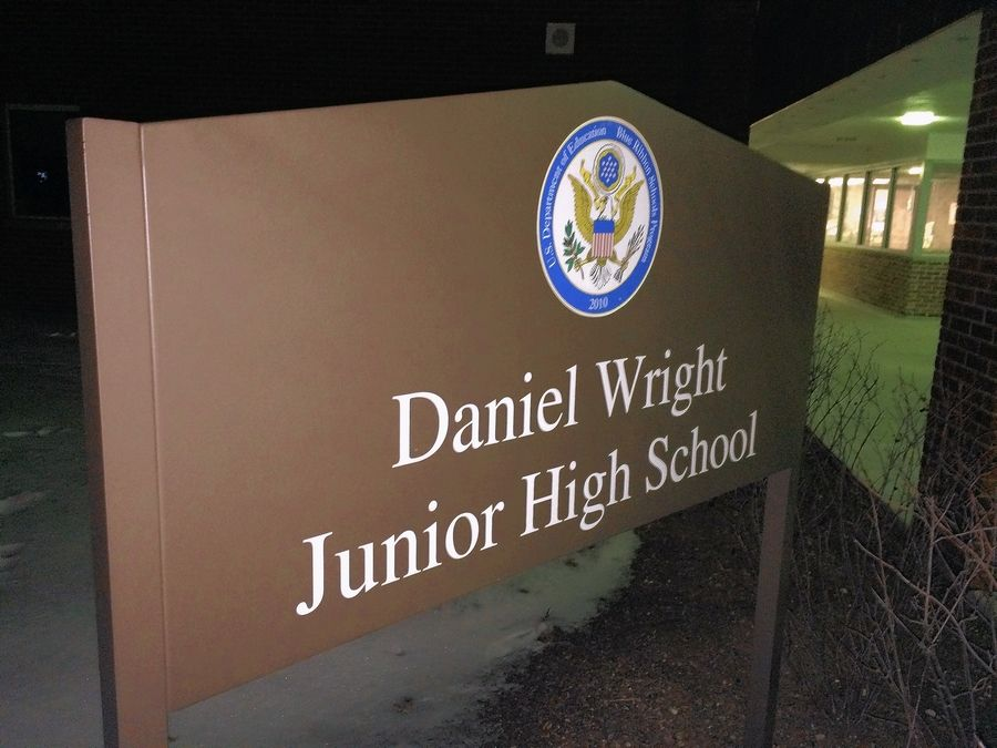 A one-story, 1,800-square-foot addition containing two classrooms is planned for Wright Junior High School in Lincolnshire. Related work would include renovations to the building's library and relocating the front entrance.