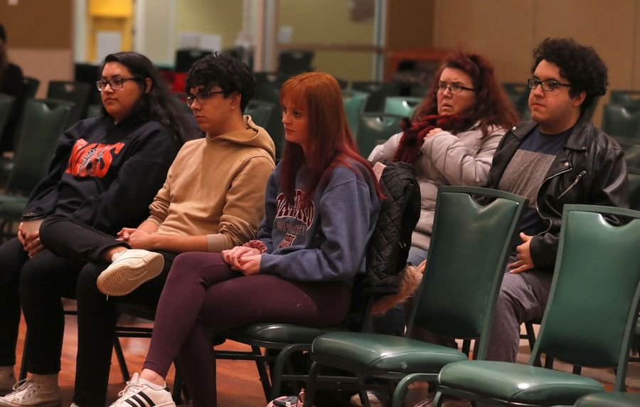 A panel of experts addresses school shootings and gun violence in communities during a community discussion Tuesday at The Centre of Elgin.