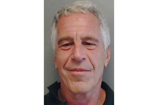 FILE - This July 25, 2013, file image provided by the Florida Department of Law Enforcement shows financier Jeffrey Epstein. Two correctional officers responsible for guarding Epstein the night he killed himself have been charged with falsifying prison records. A grand jury indictment made public Tuesday, Nov. 19, 2019, accused guards Toval Noel and Michael Thomas of failing to perform checks on Epstein every half hour, as required, and of fabricating log entries to show they had. Epstein was found dead in his cell in August. (Florida Department of Law Enforcement via AP, File)