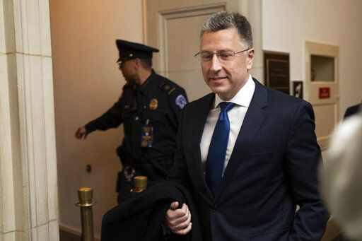Ambassador Kurt Volker, former special envoy to Ukraine, arrives to testify before the House Intelligence Committee on Capitol Hill in Washington, Tuesday, Nov. 19, 2019, during a public impeachment hearing of President Donald Trump's efforts to tie U.S. aid for Ukraine to investigations of his political opponents. (AP Photo/Manuel Balce Ceneta) Tuesday, Nov. 19, 2019.