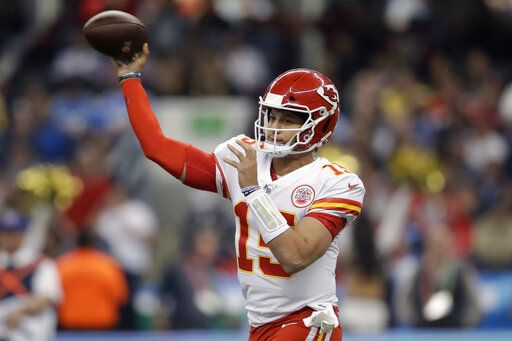Kansas City Chiefs quarterback Patrick Mahomes throws a pass during the first half of an NFL football game against the Los Angeles Chargers, Monday, Nov. 18, 2019, in Mexico City.