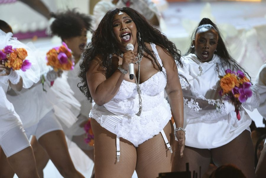 FILE -- This June 23, 2019 file photo shows Lizzo performing at the BET Awards on Sunday, June 23, 2019 in Los Angeles. Singer-rapper Lizzo earned eight Grammy Award nominations, Wednesday, Nov. 20, making her the show's top-nominated act. The 62nd Grammy Awards will air live from the Staples Center in Los Angeles on January 26.