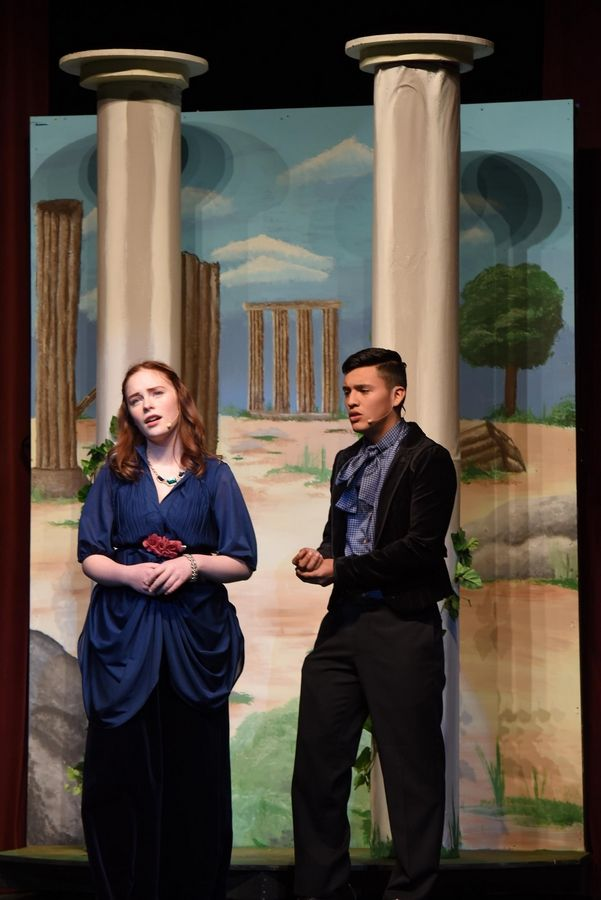 "Hermia, played by Alaska Field, and Lysander, played by Deon Lopez, perform in Grant High School's rehearsal of ""A Midsummer Night's Dream, by William Shakespeare"" at the Fox Lake school Thursday."