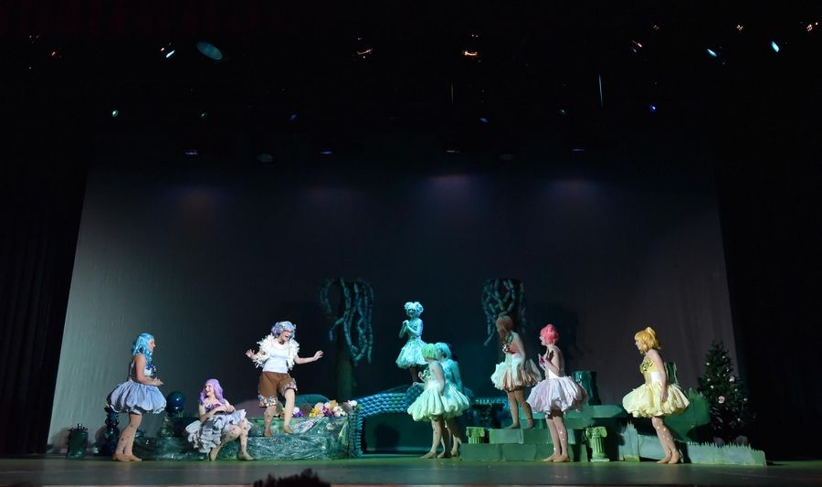 "Forest Fairies gather in Grant High School's rehearsal of ""A Midsummer Night's Dream, by William Shakespeare"" at the Fox Lake school Thursday."