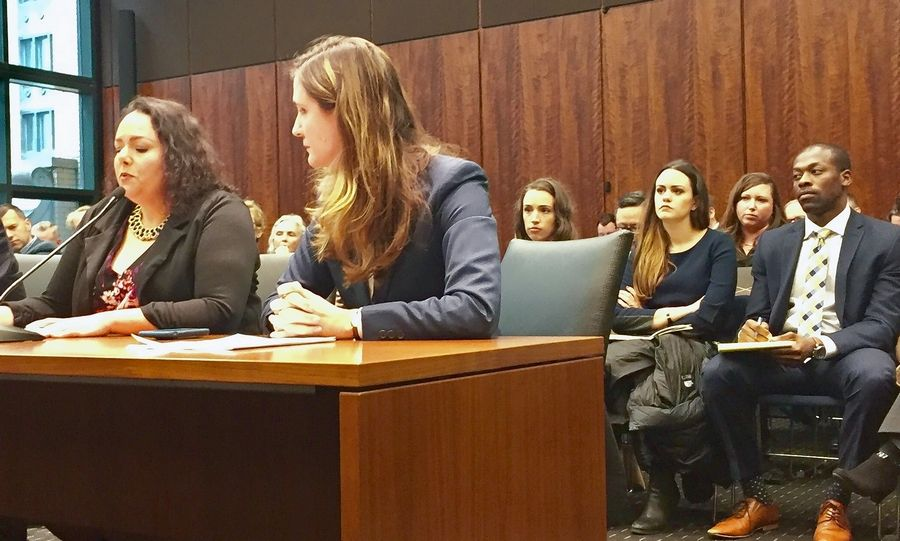Illinois Environmental Council Director Jennifer Walling, right, and Willowbrook resident Garbriella Rios discuss the impact of pollution from the Sterigenics plant at a hearing in October 2018.