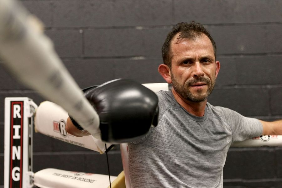Hawthorn Woods Mayor Joe Mancino trains Thursday at Conquer Fight Club based in the Libertyville Sports complex.