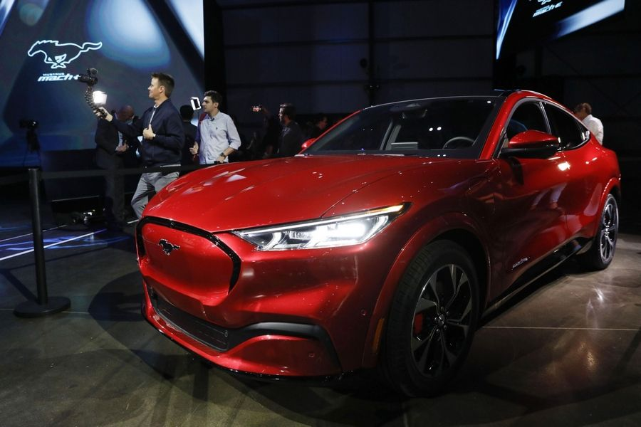 The Ford Motor Co. Mustang Mach-E electric sports utility vehicle on display during a reveal event in Hawthorne, Calif., on Nov. 17, 2019.
