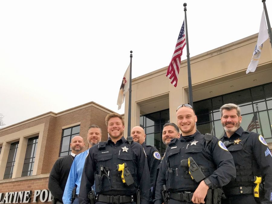 These are some of the Palatine police officers who have a few more days to participate in No-Shave November by wearing beards on the job in exchange for donations to the JourneyCare hospice in Barrington in memory of colleague Mark Dahlem, who died there in February.