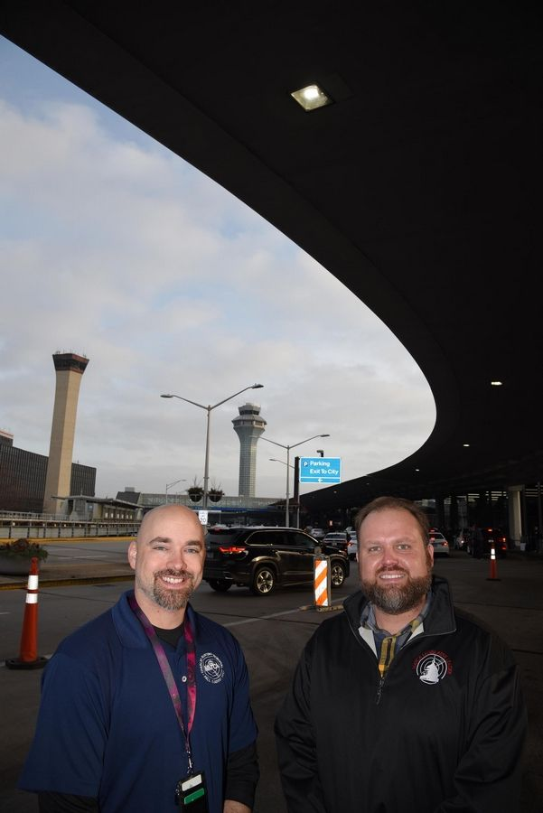Ryan Schile of Arlington Heights and Andrew Rice, right, of Wheaton are air traffic controllers at O'Hare International Airport in Chicago. They stopped a potential midair collision between two planes in March.