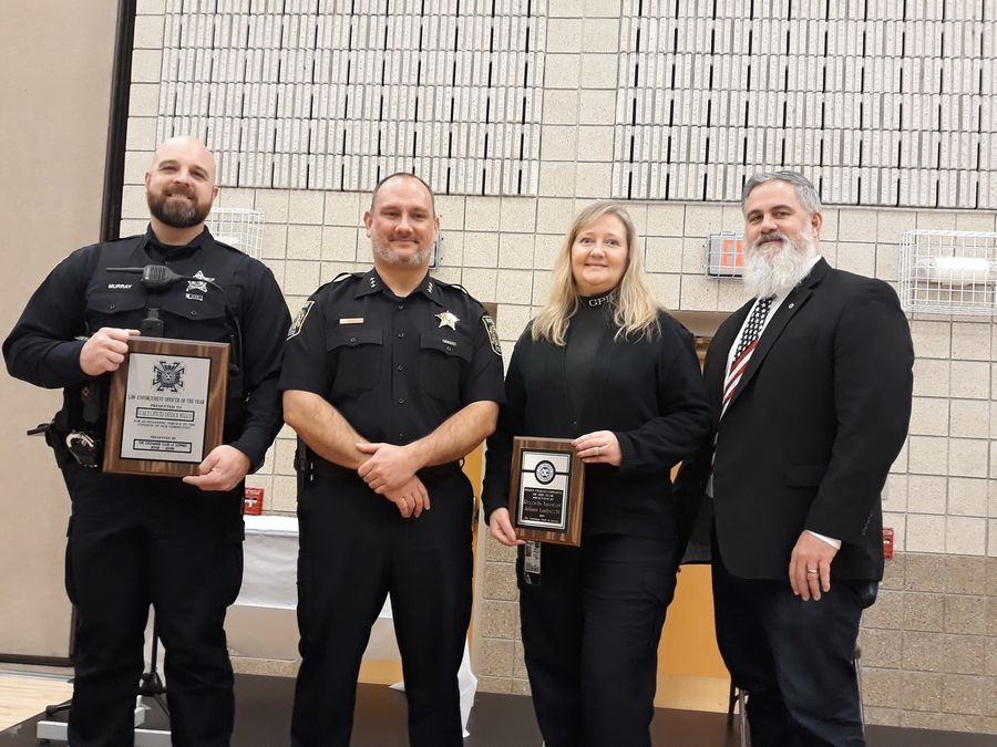 From left:  Gurnee 2019 Police Officer of the Year Patrick Murray, Police Chief Brian Smith, and Police Civilian of the Year Juliann Lambrecht.Lyla Chandy