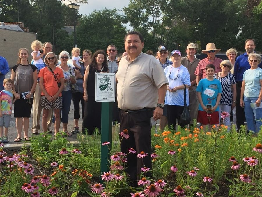 West Chicago Mayor Ruben Pineda at the dedication of city hall's newly planted monarch garden.