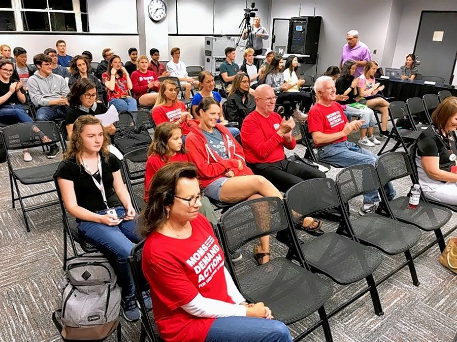 Members of Barrington Area Moms Demand Action For Gun Sense In America attended a recent Barrington Area Unit District 220 meeting to argue against a resolution that would have allowed armed teachers in some Illinois school districts.