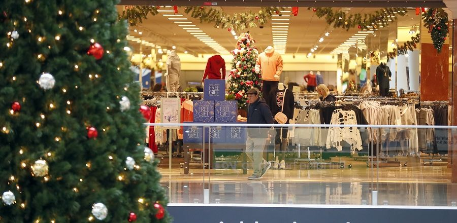 Holiday displays greet shoppers at Yorktown Center in Lombard. The mall's Black Friday hours are 8 a.m. to 10 p.m. The National Retail Federation estimates more than 165 million people will shop on Thanksgiving through Cyber Monday.