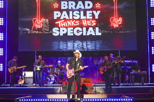 "Brad Paisley during a taping of his variety special ""Brad Paisley Thinks He's Special,"" airing Dec. 3 on ABC."