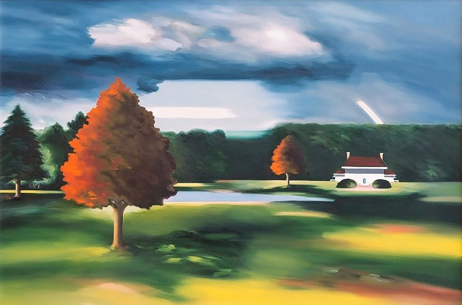 "Sandra Jorgensen worked in oil and specialized in contemporary American landscapes and still life compositions. This piece, ""Passing Storm,"" was painted between 1994 and 1997."