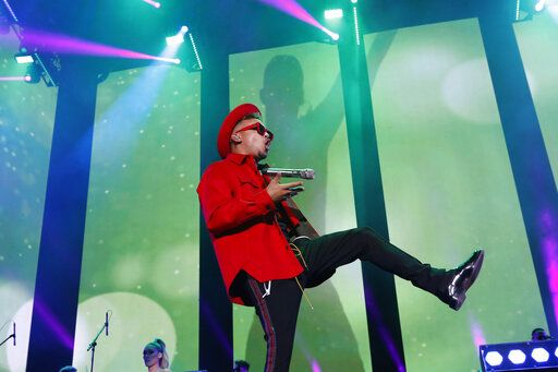 Singer Ozuna performs during the Coca Cola Flow Reggaeton festival in Mexico City, Saturday, Nov. 23, 2019.