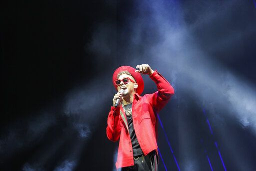 Singer Ozuna performs during the Coca-Cola Flow Reggaeton festival in Mexico City, Saturday, Nov. 23, 2019.