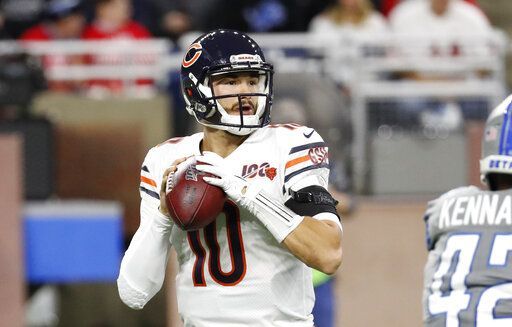 Chicago Bears quarterback Mitchell Trubisky throws during the first half of an NFL football game against the Detroit Lions, Thursday, Nov. 28, 2019, in Detroit.