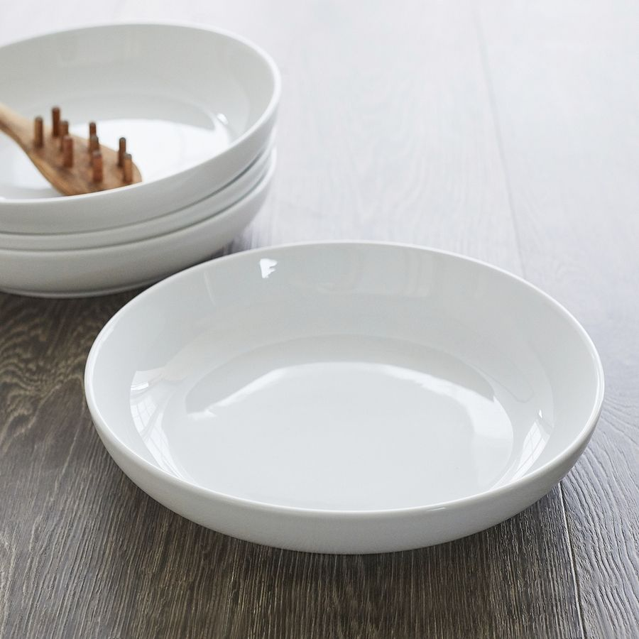 "Peter Kayaian's sturdy porcelain bowl plate hybrid is sold by Sur La Table. ""Almost any type of dish can go into a shallow bowl -- pasta, salad, side dish,"" says Kayaian, a New York-based culinary product development professional."