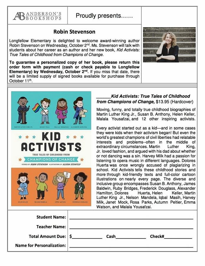"This is the flyer Anderson's Bookshops provided for Longfellow Elementary School for a visit by author Robin Stevenson. ""I don't think there was any need for further context or notification, and none of the other schools I visited on my tour felt a need for that,"" Stevenson said in an email last month."