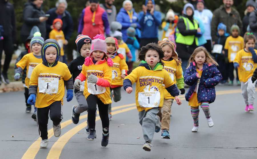 The Palatine Park District held its 39th annual Thanksgiving Day Turkey Trot and Drumstick Dash at Harper College. Runners chose from either a 2 mile race, 5 mile race, or 100 yard dash.