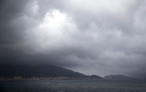 Rain clouds form over Marseille, France, Sunday, Dec. 1, 2019. The southern France region is under alert for heavy rain and floods.
