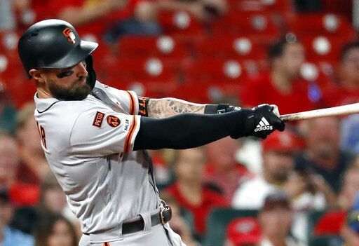 FILE - In this Sept. 4, 2019, file photo, San Francisco Giants' Kevin Pillar follows through on a two-run home run during the eighth inning of the team's baseball game against the St. Louis Cardinals in St. Louis. The Giants allowed Pillar to become a free agent by failing to offer the outfielder a 2020 contract. Acquired from Toronto on April 2, Pillar hit .264 for San Francisco with 21 home runs and 87 RBIs.
