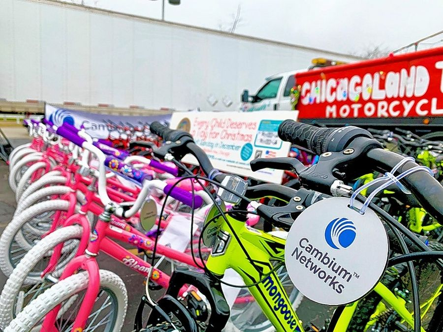 A total of 50 Pacific Cycle children's bicycles waited at the finish line of the Chicagoland Toys for Tots Motorcycle Parade. The bicycles were built by employees of Rolling Meadows-based Cambium Networks.