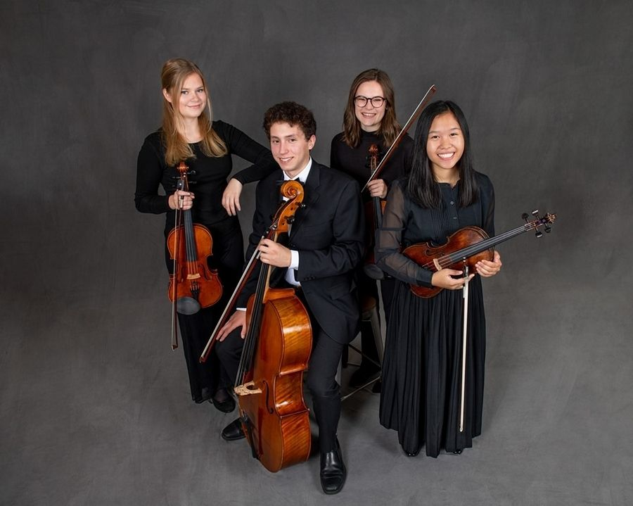 The Maud Powell String Quartet, featuring violinists Claire Collins and Zylle Constantino, violist Grace Morby and cellist David Betz, will perform Sunday, Dec. 15, at the St. Charles Public Library.