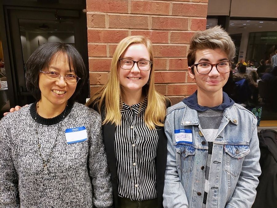 From left: College of Lake County students Tomoko Funahashi, Lily Pinkowski Casper Badovinac all won awards at the 2019 Illinois Skyway Conference Writers' Competition and Festival, held Nov. 14 at Elgin Community College.