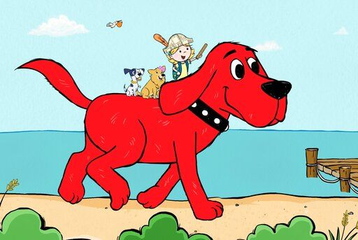 This image released by Scholastic Entertainment shows a scene from the reboot of  'œClifford the Big Red Dog.'� The new show offers more diversity among the human characters and puts Clifford's beloved 7-year-old owner, Emily Elizabeth, front and center in his Birdwell Island adventures. (Scholastic Entertainment via AP)