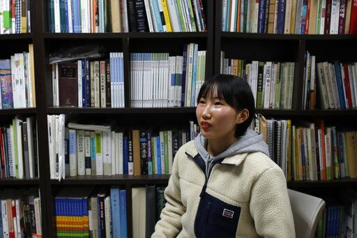 In this Nov. 6, 2019, photo, Song Hong Ryon speaks during an interview in Uijeongbu, South Korea. Song Hong Ryon looks like any other young woman in South Korea. But three years after her arrival from China, the half-North Korean, half-Chinese 19-year-old has made only two South Korean-born friends and says she's often been hurt by little things, like when people ask if she's from China because of her accent.