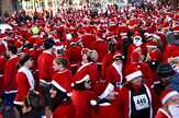 Campbell Street is a sea of red moments before the annual 5K Rotary Santa Run through downtown Arlington Heights.