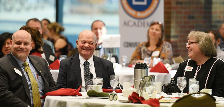 "Elgin Mayor David Kaptain gave his annual ""state of the city"" address at a breakfast Thursday hosted by the Elgin Area Chamber of Commerce at Elgin Community College."