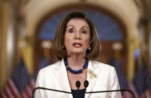 Speaker of the House Nancy Pelosi, D-Calif., makes a statement at the Capitol in Washington, Thursday, Dec. 5, 2019.  Pelosi announced that the House is moving forward to draft articles of impeachment against President Donald Trump.