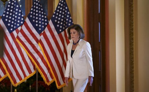 Speaker of the House Nancy Pelosi, D-Calif., arrives to make a statement at the Capitol in Washington, Thursday, Dec. 5, 2019.  Pelosi announced that the House is moving forward to draft articles of impeachment against President Donald Trump.