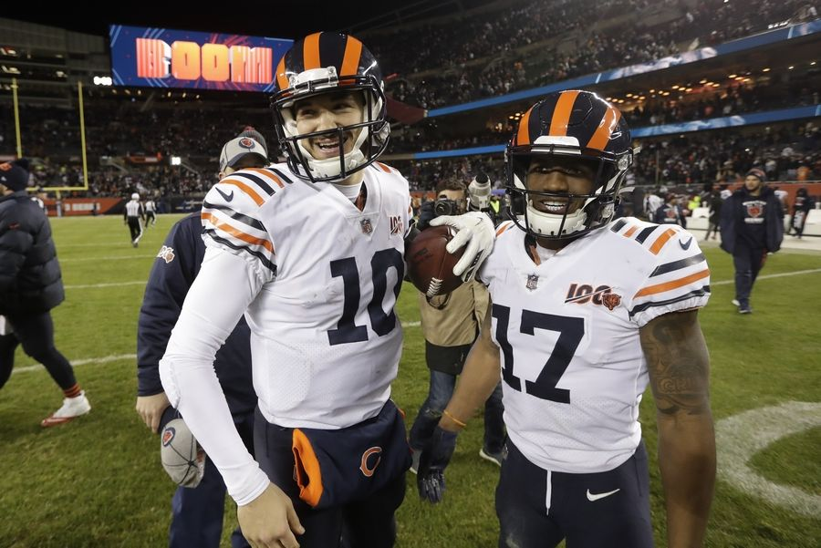Bears quarterback Mitch Trubisky and wide receiver Anthony Miller celebrate their win over the Cowboys on Thursday.