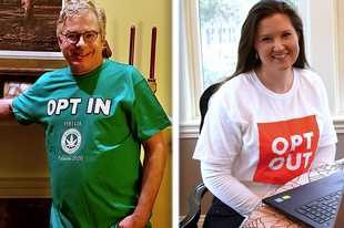 "Paul Shafer, left, of Palatine wears an ""Opt In"" shirt to support allowing marijuana retailers in the village. Jennifer Bruzan Taylor, right, of Naperville is part of the ""Opt Out"" movement traveling across the suburbs."