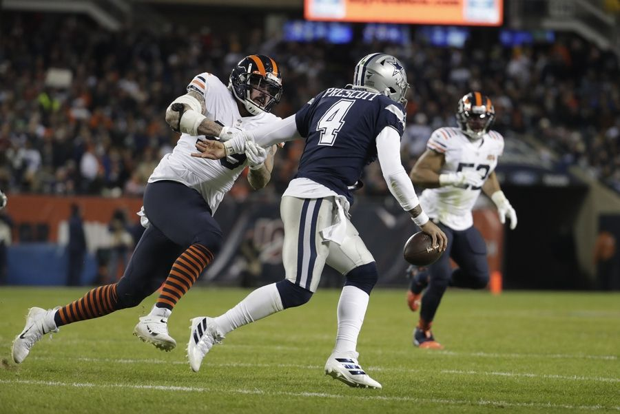 Bears' Aaron Lynch chases down Dallas QB Dak Prescott during the Bears win over the Cowboys on Thursday night.