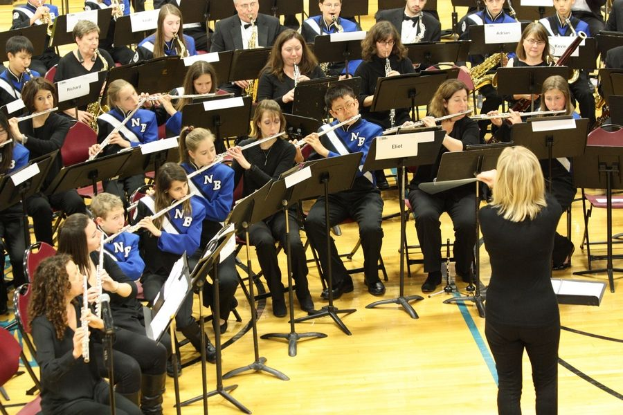 The Northbrook Junior High Wind Ensemble performs with the Northshore Concert Band, Northbrook Junior High School. February 18, 2016