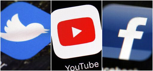 This combination of images shows logos for companies from left, Twitter, YouTube and Facebook. Social media companies are failing to stop manipulated activity, according to a report Friday, Dec. 6, 2019 by NATO-affiliated researchers who said they were easily able to buy tens of thousands of likes, comments and views on Facebook, Twitter, YouTube and Instagram. Most of the phony accounts and the activity they engaged in remained online weeks later, even after researchers at the NATO Strategic Command Centre of Excellence flagged it up as fake.