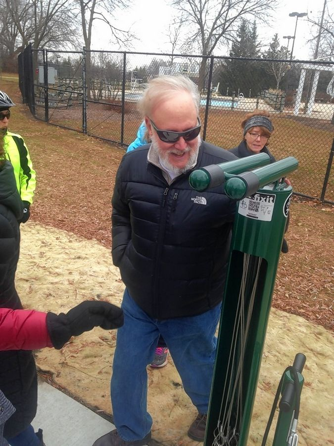 Gary Gilbert was one of the leaders of the effort to raise money for a bench and repair station in Frontier Park in Arlington Heights in memory of local biking enthusiast Jim Shoemaker.