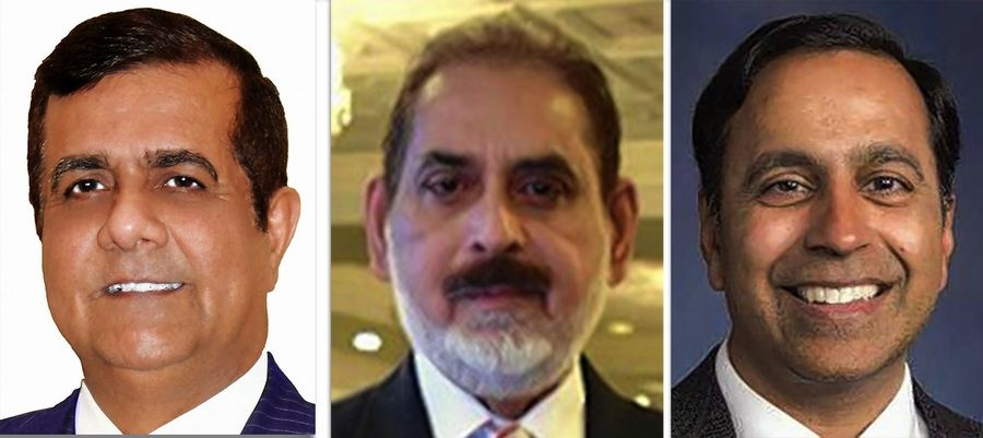 From left, Mohammed Faheem, Inam Hussain and Raja Krishnamoorthi are candidates for the 8th Congressional District primary race in March 2020. Not pictured is candidate William Olson.