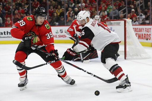 Chicago Blackhawks defenseman Dennis Gilbert, left, and Arizona Coyotes center Brad Richardson battle for the puck during the first period of an NHL hockey game Sunday, Dec. 8, 2019, in Chicago.