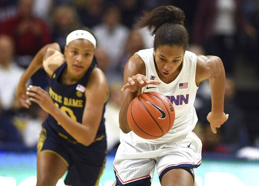 Connecticut's Megan Walker takes off with a steal from Notre Dame's Katlyn Gilbert, left, in the first half of an NCAA college basketball game, Sunday, Dec. 8, 2019, in Storrs, Conn.