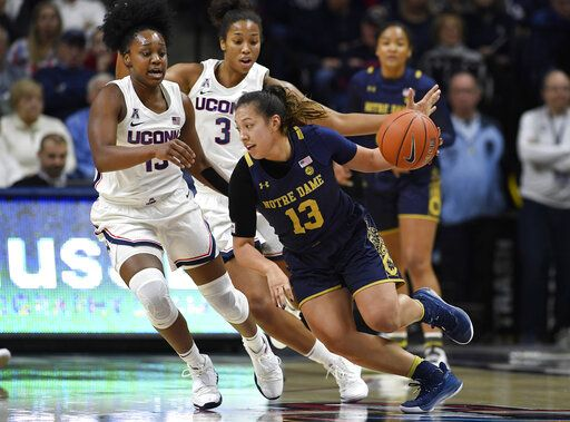 Notre Dame's Marta Sniezek (13), dribbles around Connecticut's Christyn Williams (13) and Connecticut's Megan Walker (3) in the first half of an NCAA college basketball game, Sunday, Dec. 8, 2019, in Storrs, Conn.