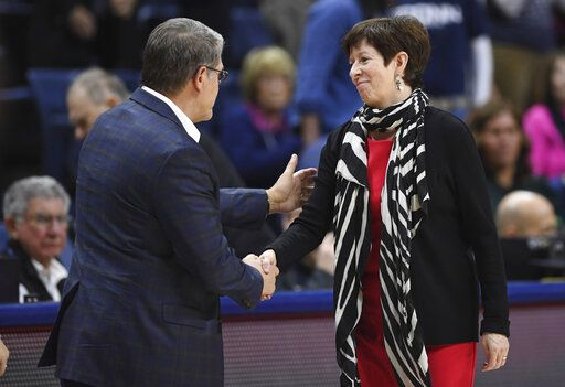 Notre Dame head coach Muffet McGraw, right, shakes hands with Connecticut head coach Geno Auriemma at the end of an NCAA college basketball game, Sunday, Dec. 8, 2019, in Storrs, Conn.