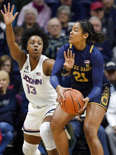 Notre Dame's Anaya Peoples, right, is pressured by Connecticut's Christyn Williams in the first half of an NCAA college basketball game, Sunday, Dec. 8, 2019, in Storrs, Conn.