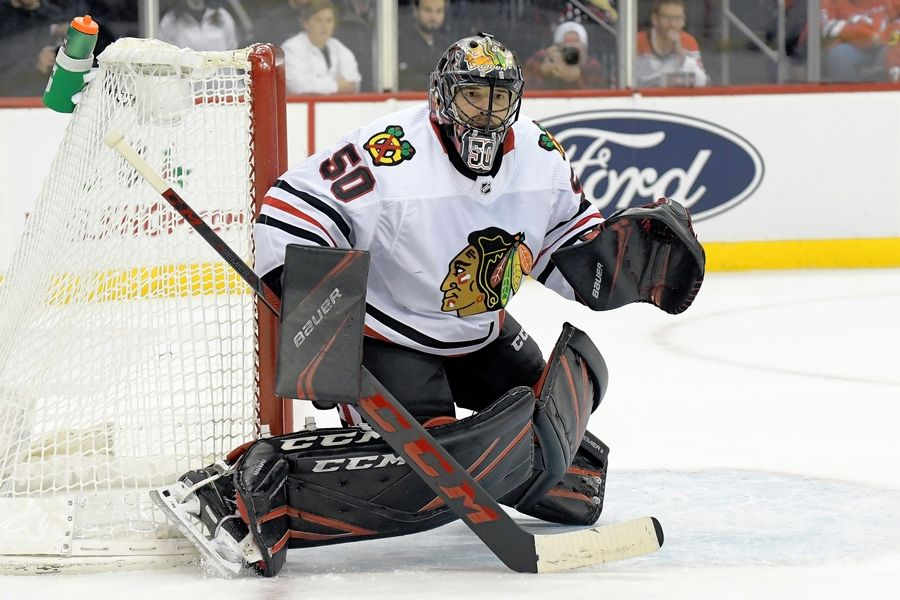 Blackhawks goaltender Corey Crawford protects the net during against the New Jersey Devils on Friday, Dec. 6, 2019, in Newark, N.J. On a team looking for consistent performances, Crawford and fellow goaltender Robin Lehner have managed to repeatedly befuddle opponents.